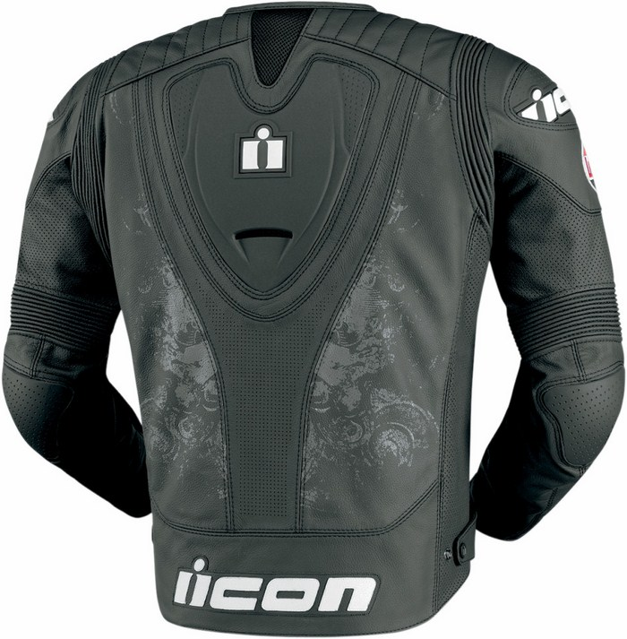 Leather motorcycle jacket Icon Overlord Prime Hero Black