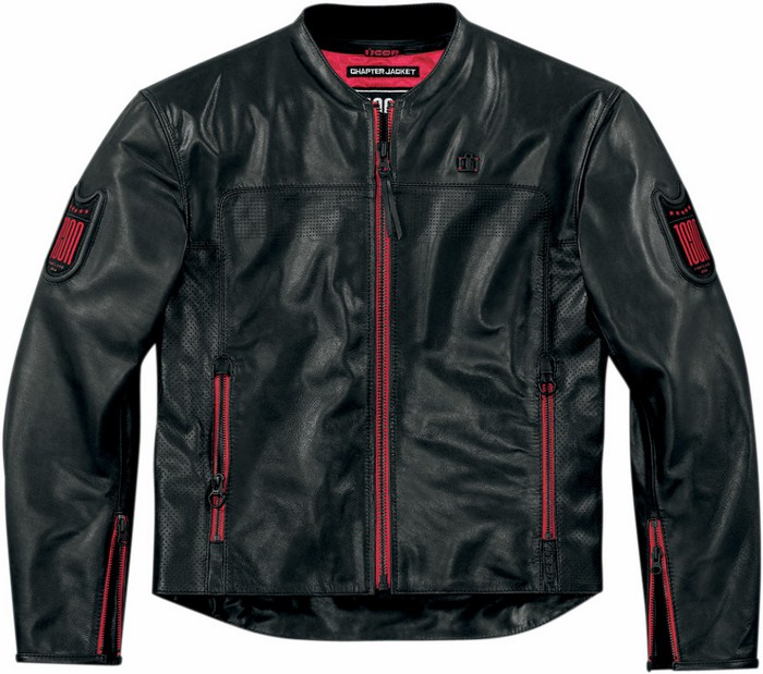 Leather motorcycle jacket Icon Chapter 1000 Black