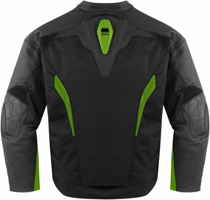 Giacca moto pelle Icon Sanctuary Nero Verde