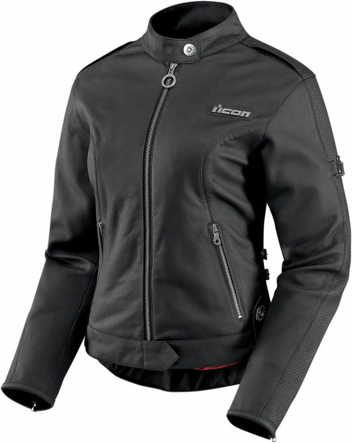 Women leather motorcycle jacket Icon Hella Black