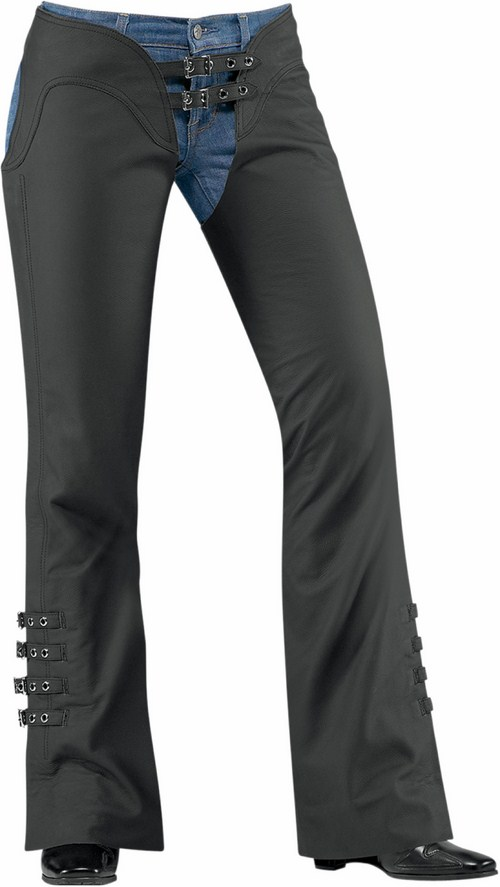 Icon Hella Women Leather Motorcycle Chaps Black