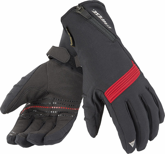 Women Motorcycle Gloves Dainese D-Dry Lady Dawn Black Red