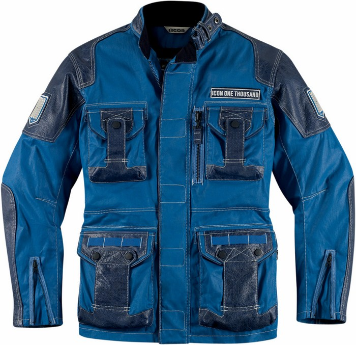 Giacca moto pelle Icon 1000 Beltway Blu