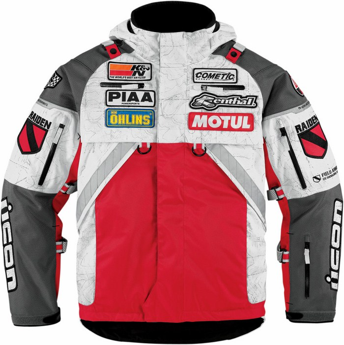 Icon Patrol Waterproof Motorcycle Jacket Waterproof Red Raiden