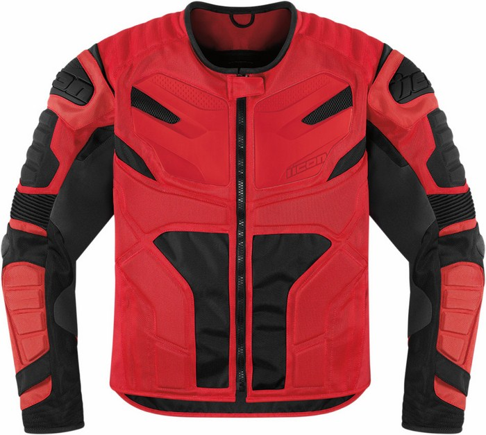 Icon Overlord Motorcycle Jacket Red Resistance