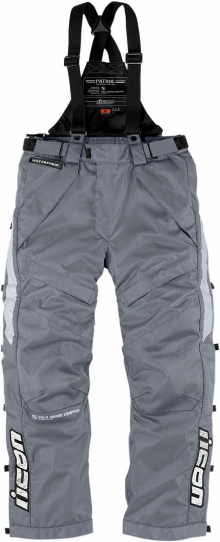 Icon Patrol Waterproof Motorcycle Pants Waterproof Raiden Grey