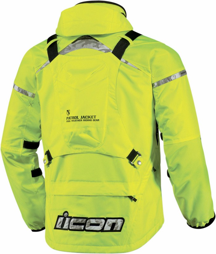 Giacca moto impermeabile Icon Patrol Waterproof Giallo fluo