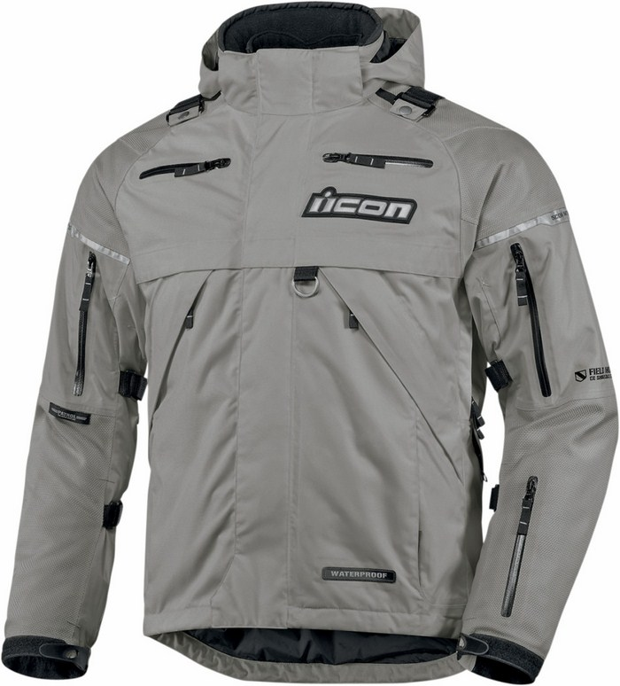 Icon Patrol Waterproof Motorcycle Jacket Waterproof Grey
