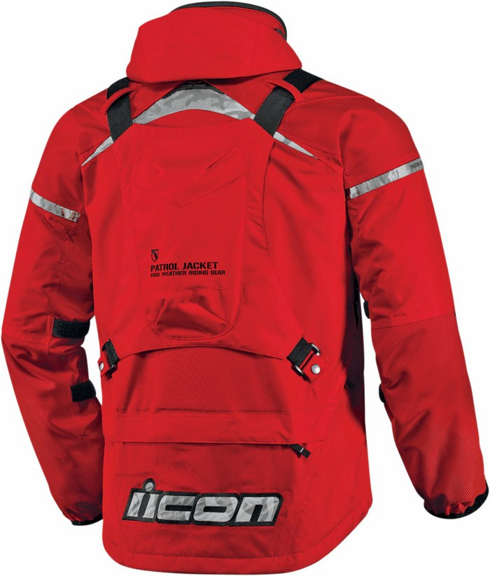 Giacca moto impermeabile Icon Patrol Waterproof Rosso
