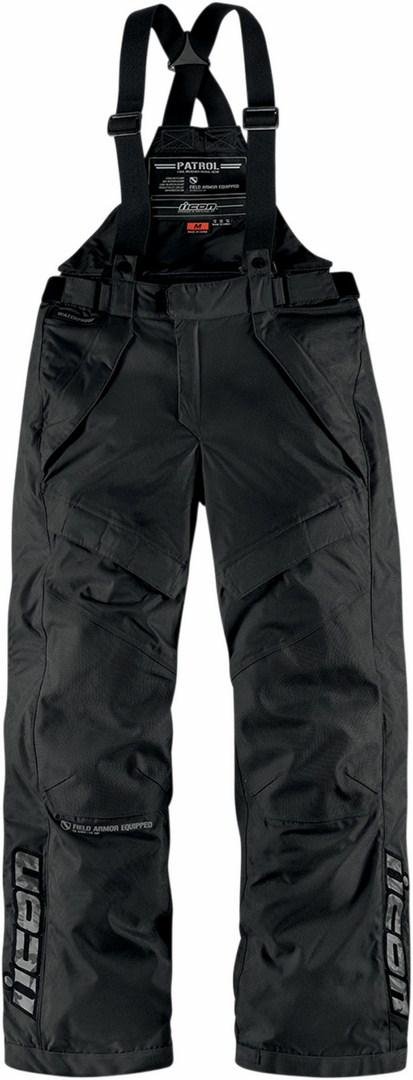 Pantaloni moto impermeabili Icon Patrol Waterproof Nero