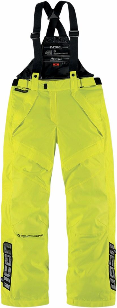 Pantaloni moto impermeabili Icon Patrol Waterproof Giallo fluo