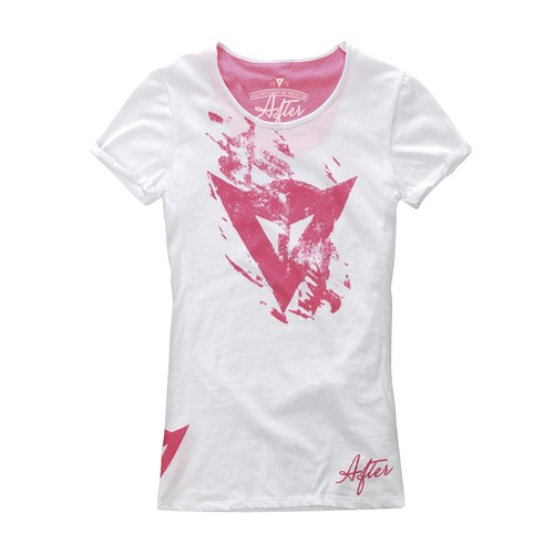 T-Shirt donna Dainese Scratch Lady bianco-rosa