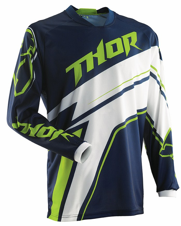 Maglia cross Thor Phase Stripe navy verde