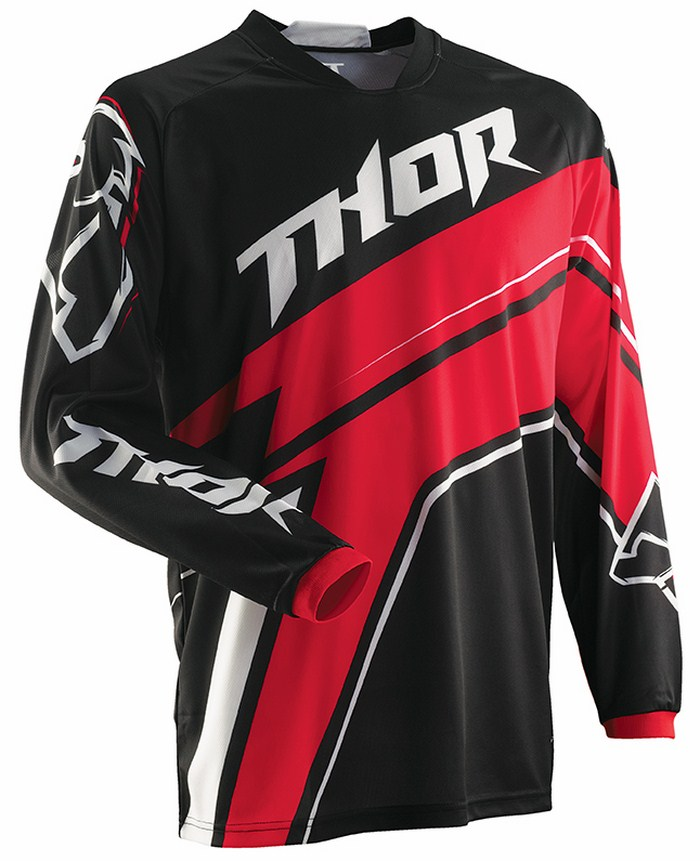 Thor Phase Stripe jersey red black