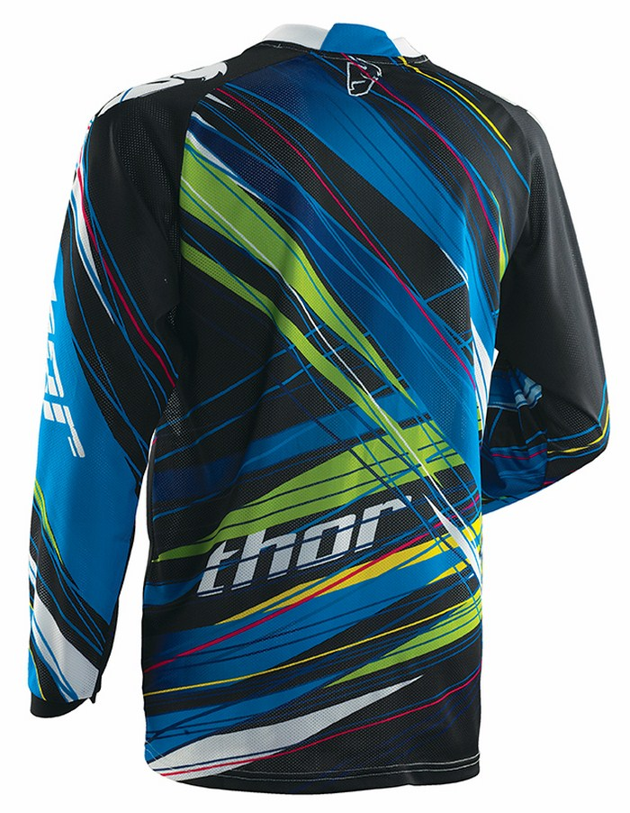 Maglia cross Thor Phase Vented Wired blu nero verde