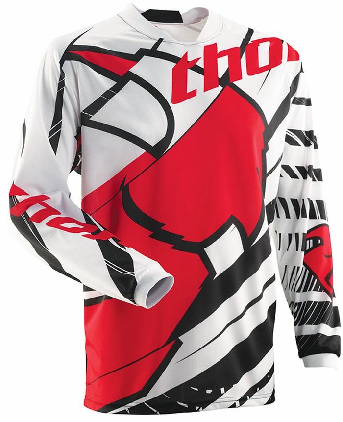 Maglia cross Thor Phase Mask bianco nero rosso