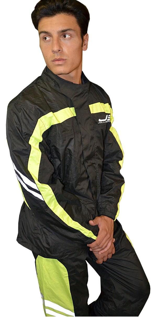 Rain suit divisible Jollisport Maja Black Yellow fluo
