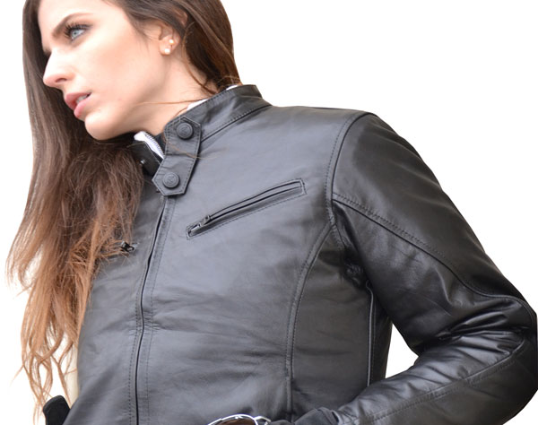 Ladies leather motorcycle jacket black Jollisport Layla