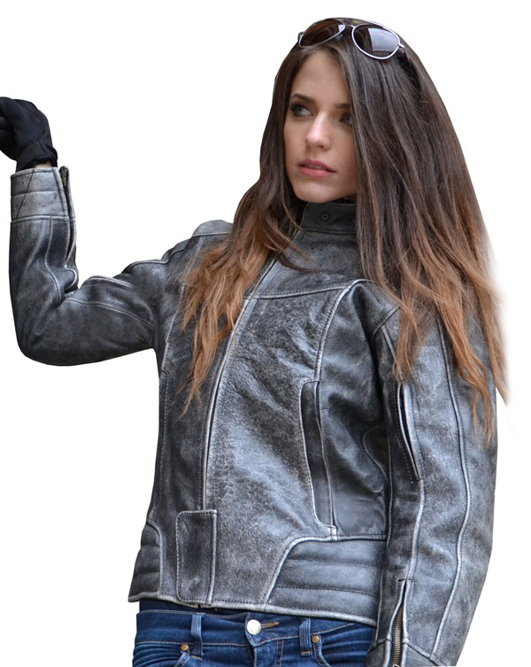 Ladies leather motorcycle jacket Jollisport Rose Vintage