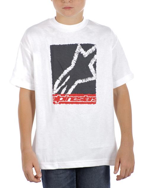 T-shirt Youth Scribble Box Alpinestars White