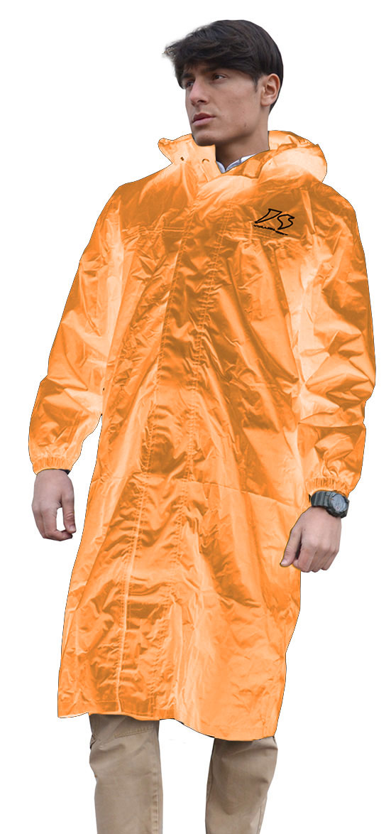 Long jacket Rain Jollisport Matrix orange fluo