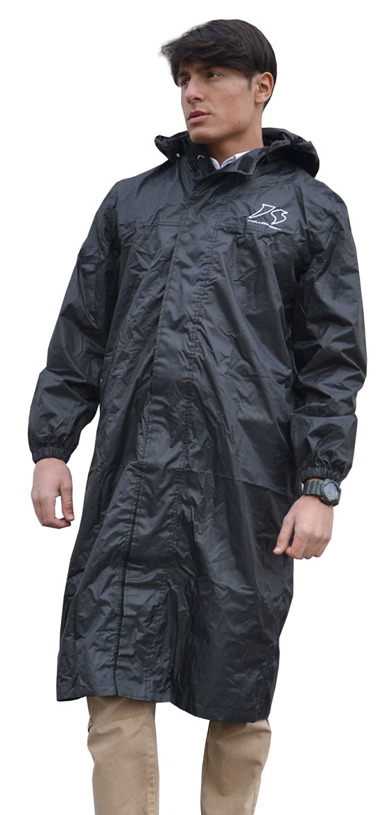 Long Rain Jacket Black Matrix Jollisport