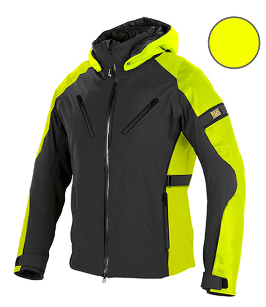 Motorcycle jacket in softshell Jollisport Duke Black Yellow fluo
