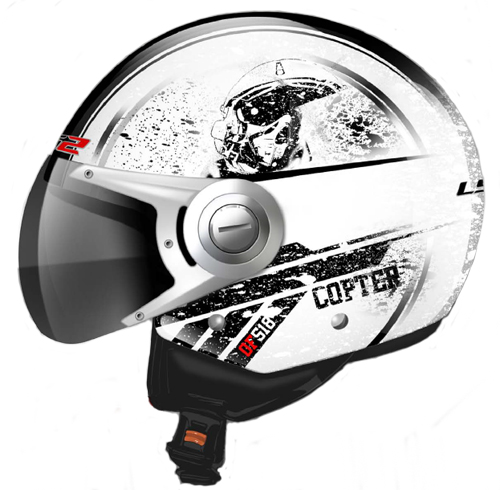 Casco jet LS2 OF518 Copter Bianco Lucido