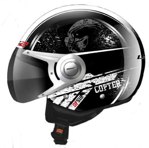 LS2 OF518 Copter jet helmet Gloss Black