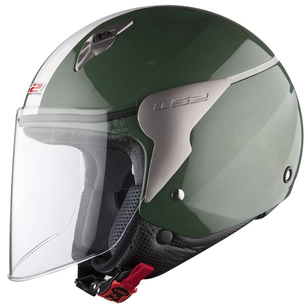 Casco jet LS2 OF559 Blink verde scuro