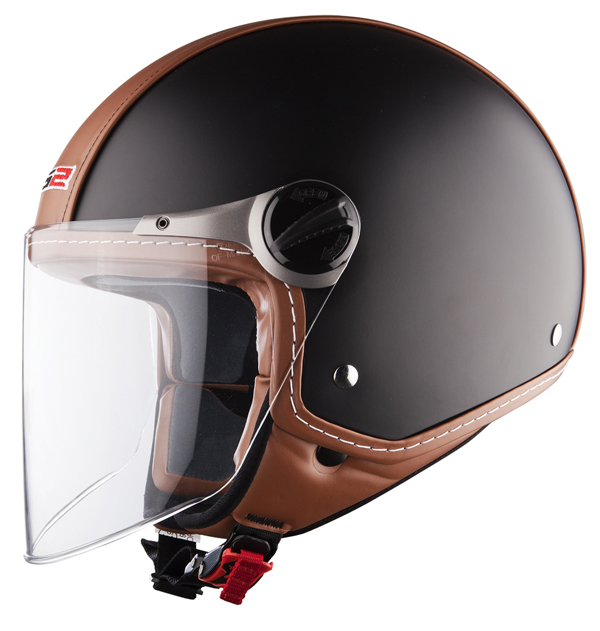 Casco jet LS2 OF560 Beetle nero opaco