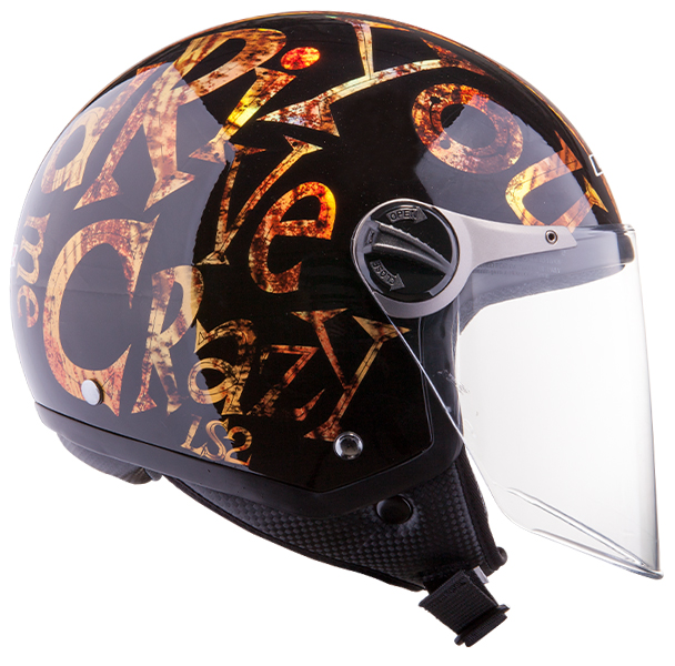 Jet helmet LS2 OF560 Crazy Black Gold