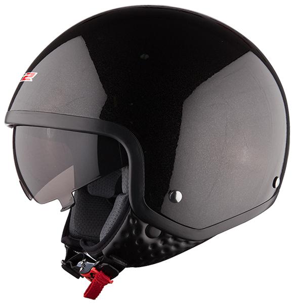 Jet helmet LS2 OF561 Black Wave