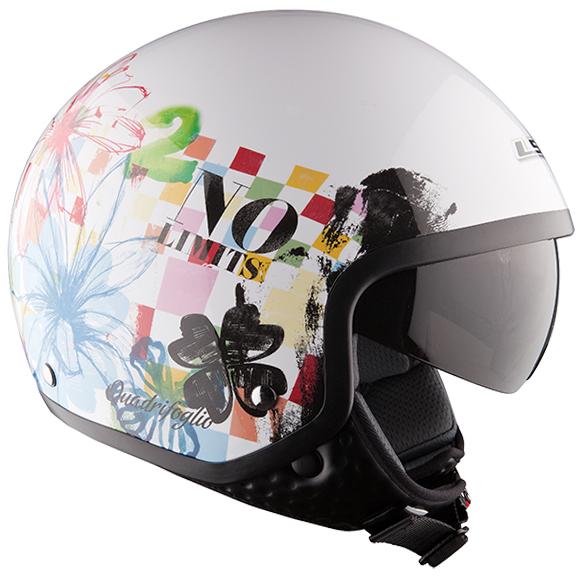 Jet helmet LS2 OF561 Quadrifoglio White