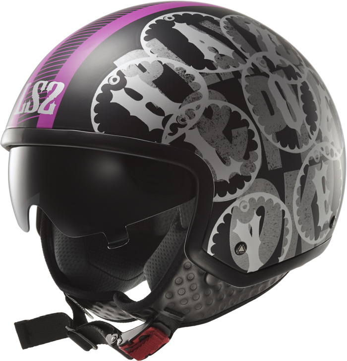 LS2 OF561 Wave Duo jet helmet matte Black Pink