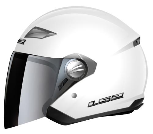 Casco moto LS2 OF569.1 Scape mentoniera staccabile bianco lucido