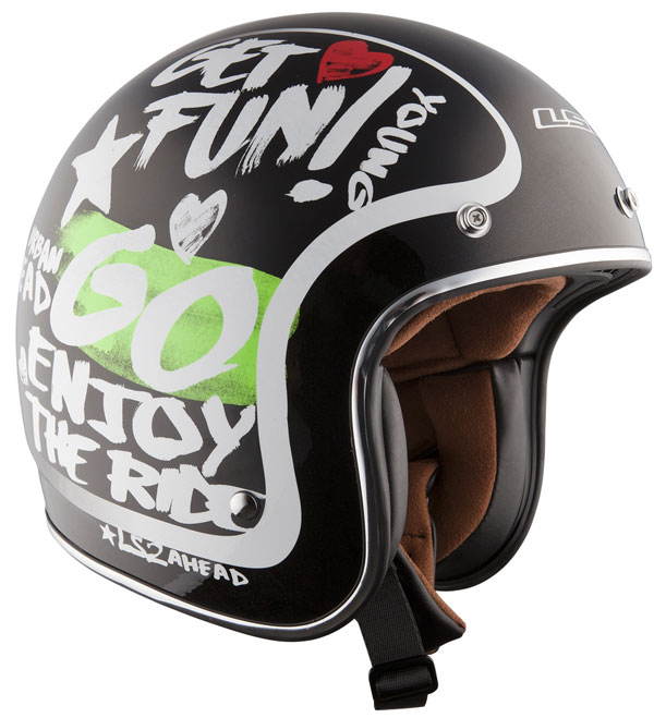 Casco jet LS2 OF583 in fibra Enjoy nero
