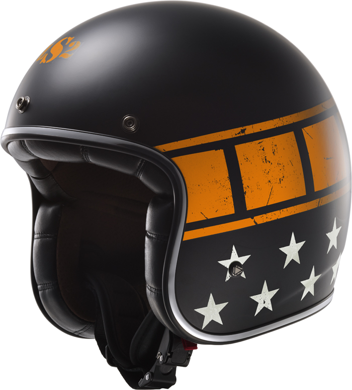 LS2 OF583 Bobber Kurt jet helmet matte Black Orange