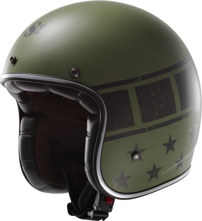 LS2 OF583 Bobber Kurt jet helmet military Green