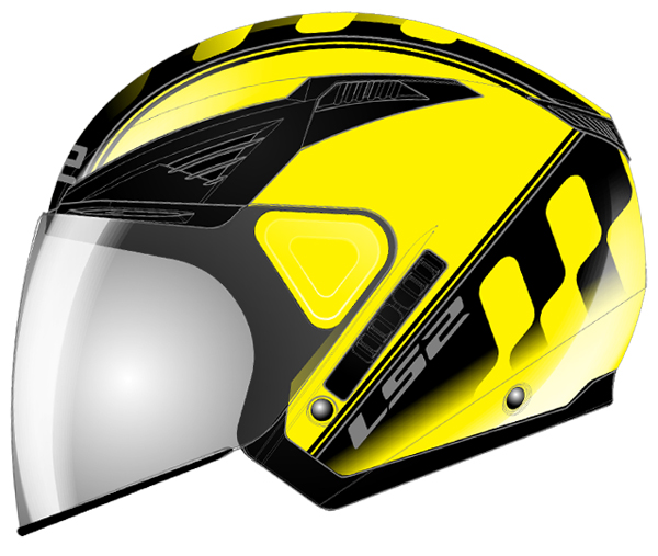 Jet helmet LS2 OF586 Atom fluorescent yellow Black