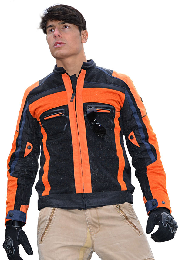 Jollisport Plus summer motorcycle jacket black orange