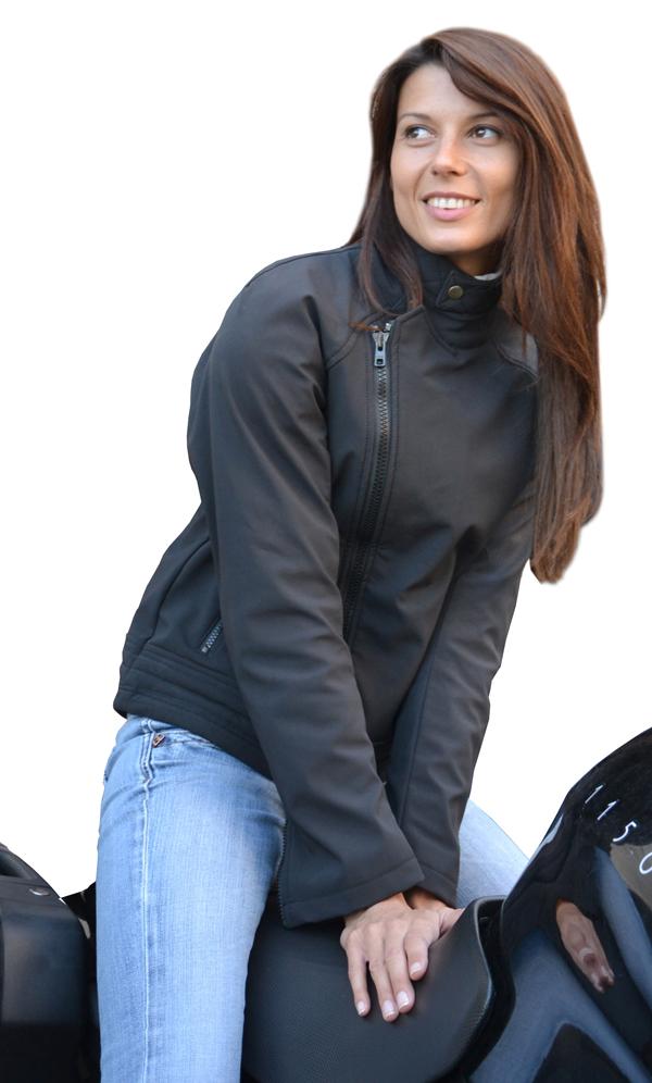 Women jacket in softshell Jollisport Lady B Black