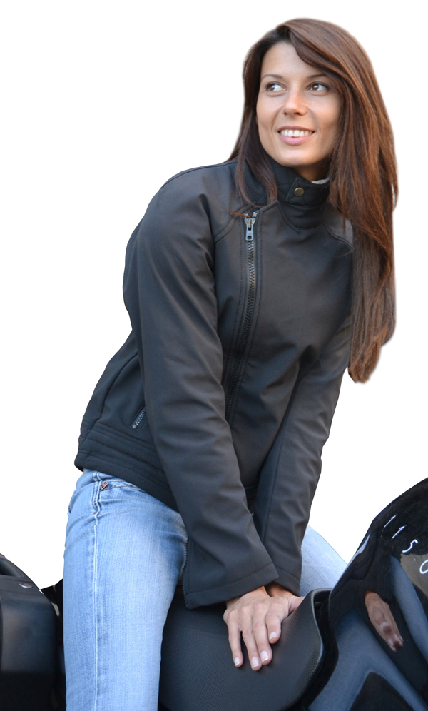 Giacca moto donna in Softshell Jollisport Lady B Nero