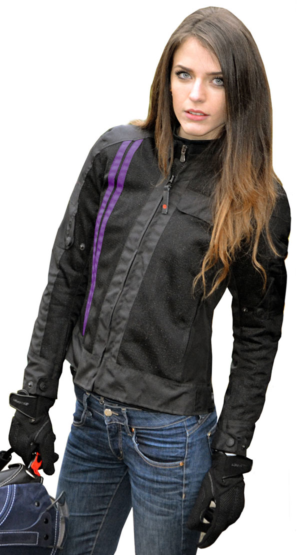 Motorcycle jacket woman Jollisport Butterfly black lilac