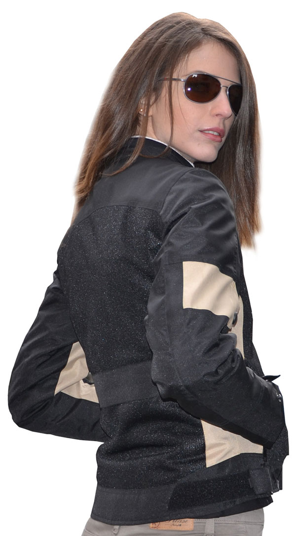 Summer motorcycle jacket woman Jollisport Margaret black beige