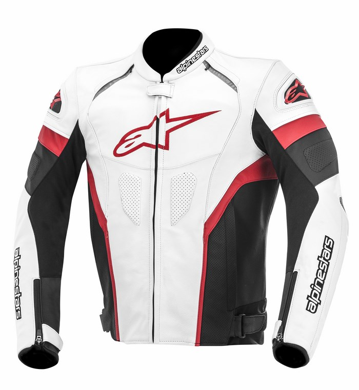 Giacca moto pelle Alpinestars GP Plus R bianco nero rosso