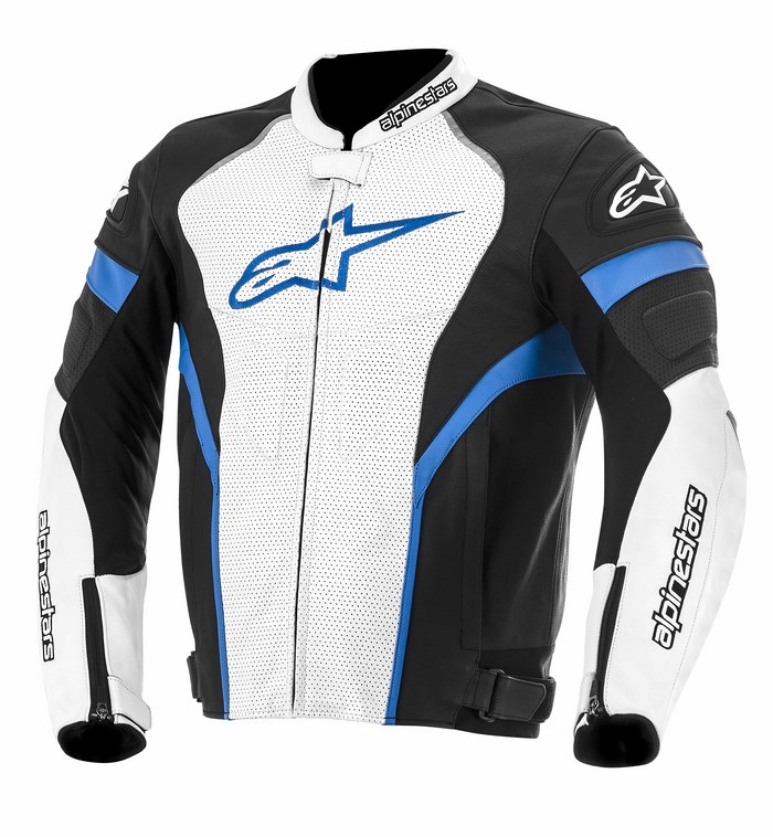 Alpinestars GP Plus R perforated leather jacket black white blue