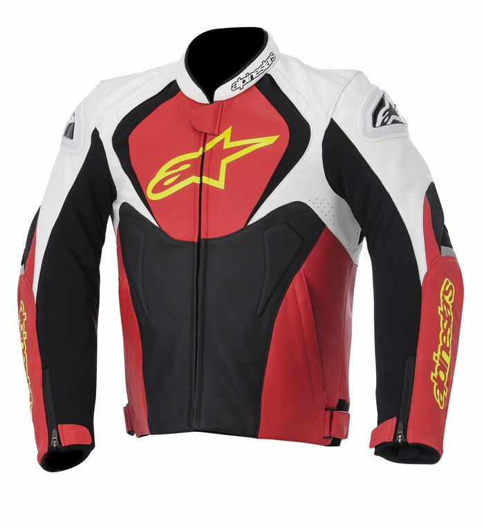 Alpinestars Jaws leather jacket white red yellow fluo