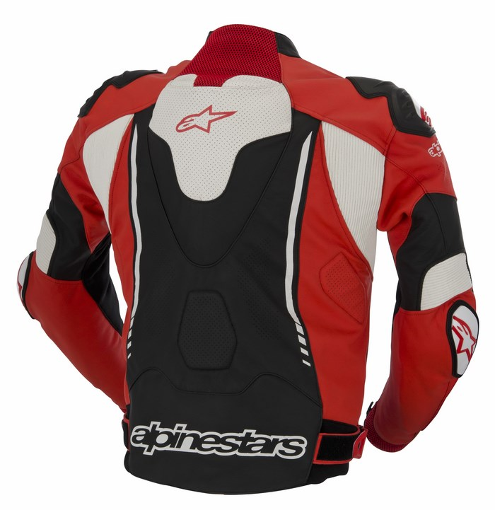 Giacca moto pelle Alpinestars Atem rosso nero bianco