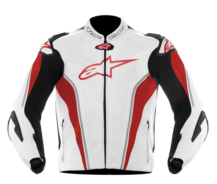 Leather motorcycle jacket Alpinestars GP Tech White Red Black